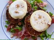Salade roquette, picodon noisettes