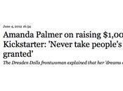 """Amanda Palmer spoken about smashing fan-funding..."