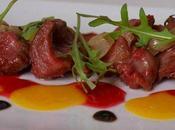 Gésiers oignons confits trois vinaigres framboise, mangue balsamique