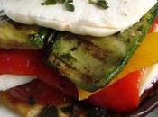 Millefeuille légumes grillés mozarella basilic