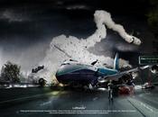 Vidéo sublime travail Photoshop mettant scène crash aérien
