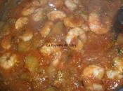 Aubergines crevettes sauce tomate pour accompagner pâtes/riz semoule