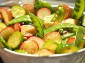 Salade pois mange-tout, concombre radis