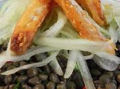 Salade lentilles morue frite