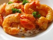 Crevettes curry coco