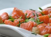 Salade saumon mariné l'huile d'argan, pommes terre nouvelles mange-tout primeurs