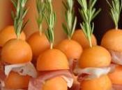 Brochettes romarin melon jambon