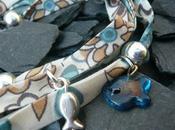 Bracelet tours tissu perles argent