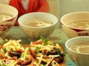 Soupe champignons, croûtons gorgonzola, pommes noix