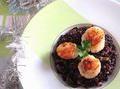 Risotto nero fondue poireaux Saint Jacques poêlées