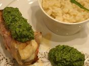 Médaillons Lotte paupiette Lard Pesto Roquette