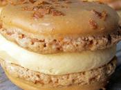 Macarons caramel beurre salé, coeur coulant paillettes éclats crêpes dentelle