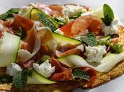 pâte base chou fleur pour délicieuse pizza ricotta jambon courgettes