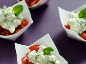Verrines chèvre courgette tomate cerise menthe