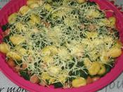 Gratin gnocchi, épinards knackis