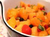 Salade melon, fruits rouges basilic