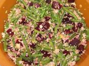 Salade céréales, haricots verts betteraves