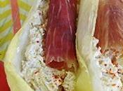 Barquettes d'endives fromage frais/olives jambon iberique