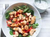 Salade facile poulet poivron rouge pois chiches