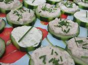 Canapés concombre rillette thon