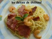 spaguettis crevettes bacon