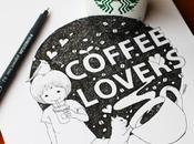 illustratrice intègre gobelet Starbucks dans dessins