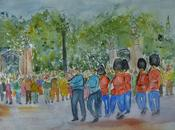 british watercolours Changing Guard Picadilly Circus