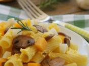 Pâtes champignons, crème potiron conté recette végétarienne