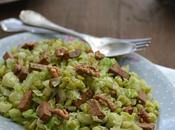 Salade choux Bruxelles, pois cassés, pommes tofu...IG vegan
