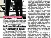 "Bush Lauds Michael Jackson ""Entertainer Decade"" Jet, avril 1990"