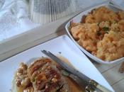 Rôti veau fromage bacon, écrasée pommes, patate douce céleri