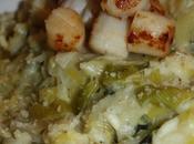 Risotto fondue poireau noix pétoncles