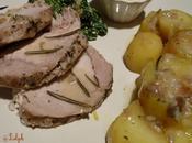 Filet porc vapeur, pommes terre fondantes sauce champignons.