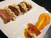 Assiette terre mer, saint-jacques, magret, potimarron céleri