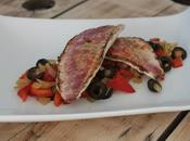 Filets rouget, poivrons oignons sautés olives noires