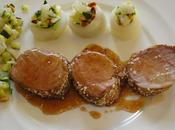 Filet mignon porc grille sesame navets farcis