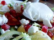 Salade frisée, chèvre frais, grenade oeuf poché