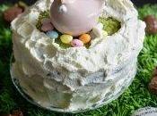 Gâteau surprise Pâques pistache, framboise oeufs bonbons)