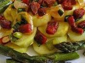 Salade cuite pommes terre, asperges vertes rôties lardons chorizo