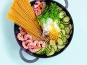 Mercredis gourmands premier Pasta Linguine magiques courgettes écrevisses #mercredisgourmands