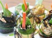 Rouleaux courgettes farcis ricotta, bacon basilic