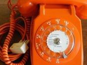 téléphone filaire Socotel cadran orange