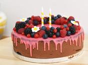 Drip cake chocolat fruits rouges sans gluten pour birthday party tutti frutti