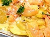 Crevettes safranées raviolis potiron petits oignons.