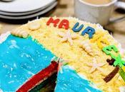 Rainbow Cake avec crème noix coco pour d'indépendance l'île Maurice