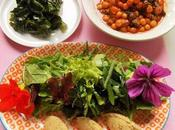 Repas complet Vegan healthy (pois chiches, chou, salade)