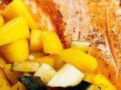 Plancha Saumon, mangue courgettes
