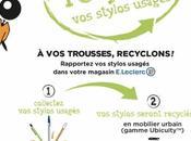 Leclerc recyclent stylos usagés mobilier urbain