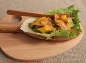 Salade avocat, fruit passion, mangue saumon fumé