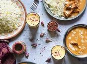 menu indien préféré Butter Chicken, Basmati extra long épices, Naans fromage Lassi mangue